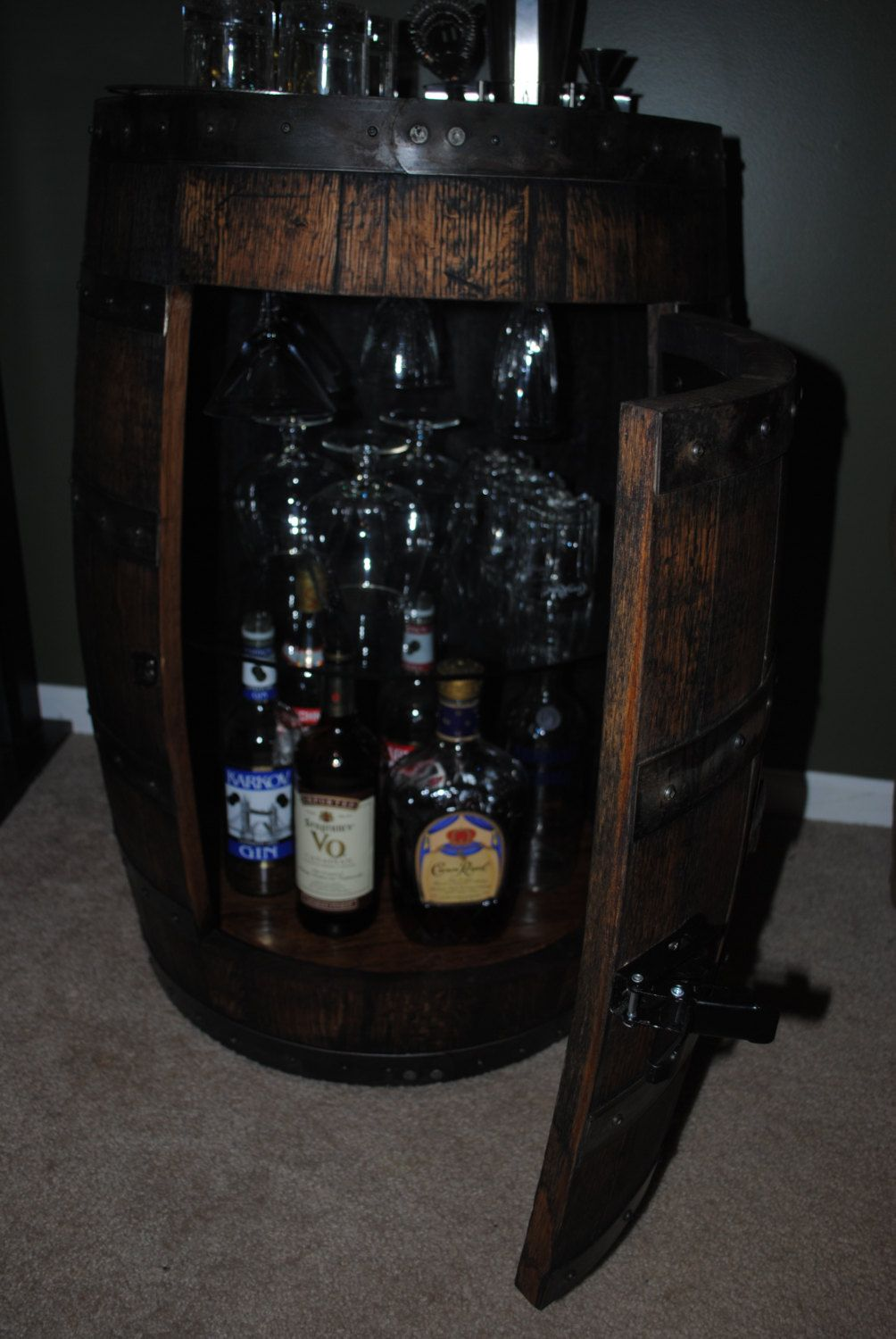 whiskey barrel Liquor cabinet w lazy susan & built in wine rack ...