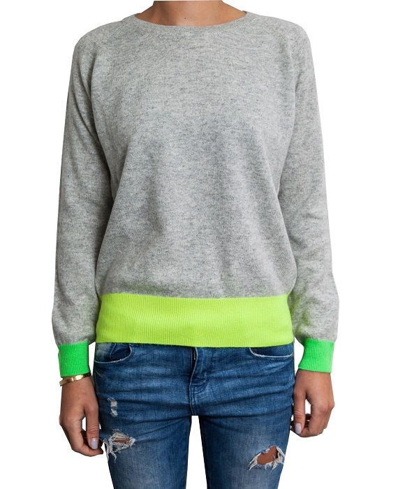 Grey and Neon Cashmere Jumper. We're madly in love with this jumper! It combines 100% classic cashmere with flashes of supercool neon for a modern, fashion forward look.  It comes in light grey with neon green cuffs and neon yellow waistband.  £145 #cashmere #neon #jumper #sweater #stylish #gifts #ideas