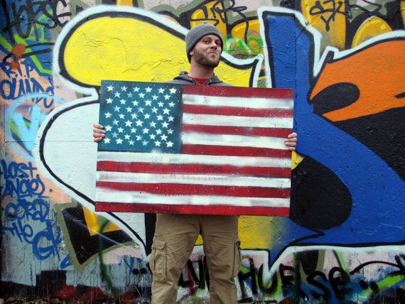 American Flag No 9 Large Mixed Media Pop Art by GarrettWeider, $250.00 Wuh-Pow!!!