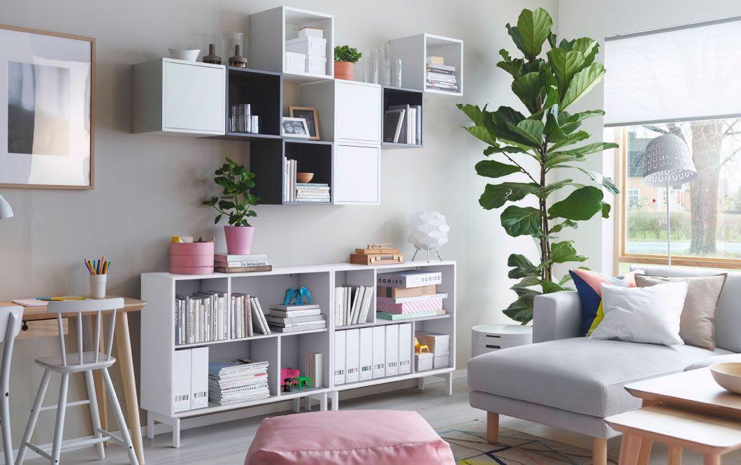 Arbeitszimmer gestaltungsideen ikea  Cuadrados de Ikea (VALJE) con consola debajo | huis | Pinterest ...