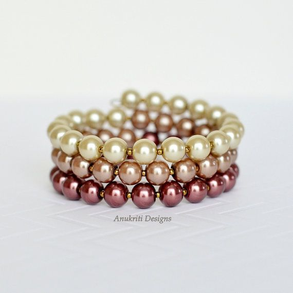 Brown ombre bracelet Pearl bracelet Beaded by AnukritiDesigns