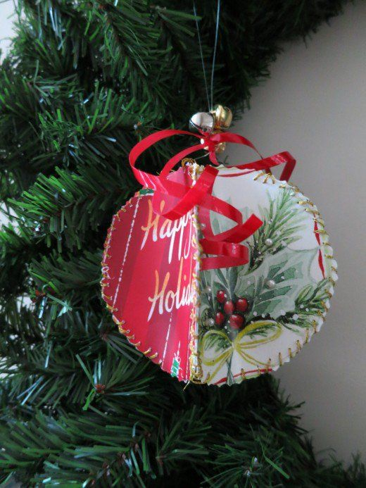 handmade ornament tutorial from recycled christmas cards