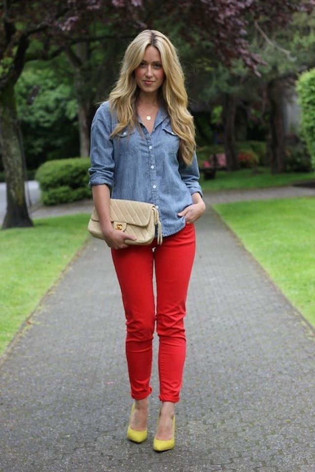ideas to wear red pants  red pants outfit fashion cute