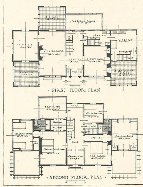 Architectural Plans for Mr Blandings Type Dream House costing