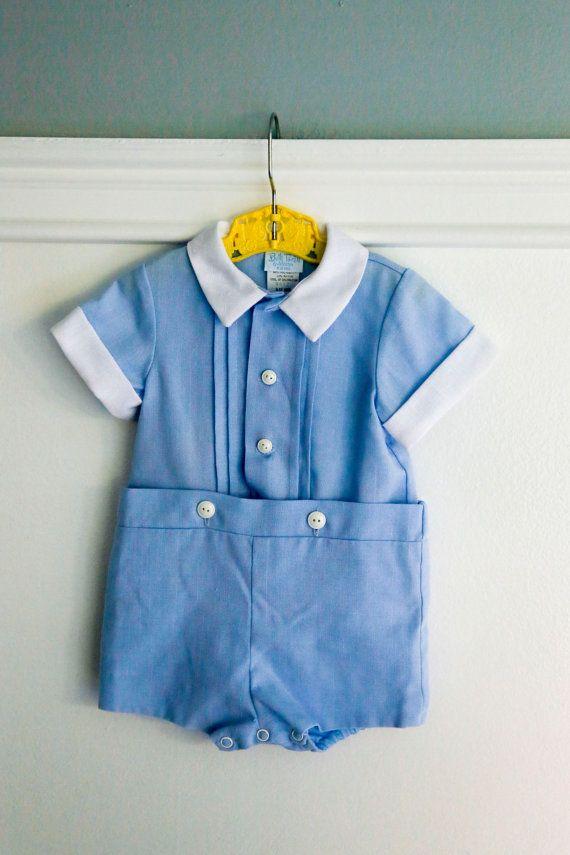 5288e82824dc 9-12 months  Vintage Baby Blue Romper Suit