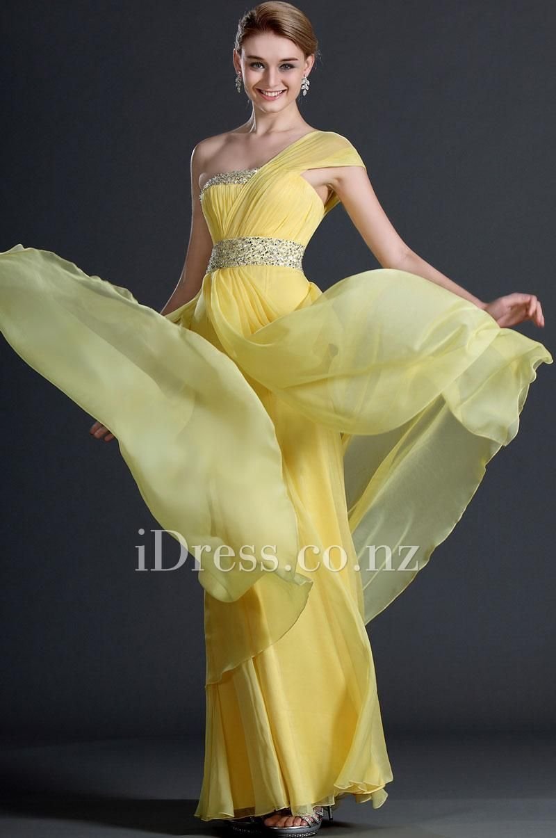 c4bc4ca2e4fe2 One Shoulder Sleeveless Yellow Chiffon Evening Dress. ball dresses nz.  formal dresses nz. prom dresses nz. #balldresses #promdresses