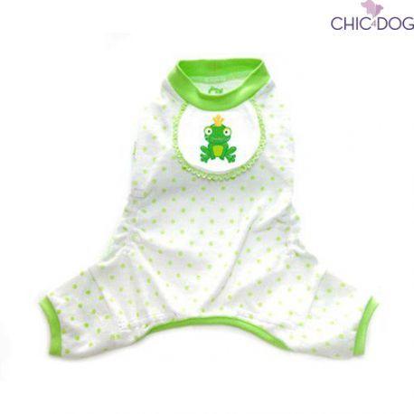 Frog Pajama - warm and conf, your little #dog will dream sweet dreams thanks to this pajama | Caldo e comodo, il tuo cagnolino trascorrerà notti molto piacevoli con il tenero pigiamino Frog. Lo trovi qui su Chic4Dog.