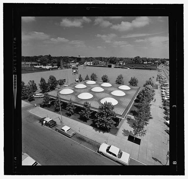 Irwin Union Bank & Trust Company, Columbus, Indiana, 1950-57. Aerial view | from www.loc.gov