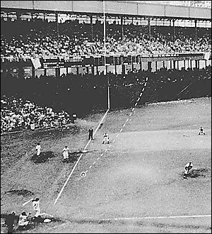 """The baseball version of the """"Shot heard 'round the world"""". In '51, when the New York Giants were a baseball team, outfielder Bobby Thompson hit a home run that helped them win the NL pennant over the BK Dodgers."""