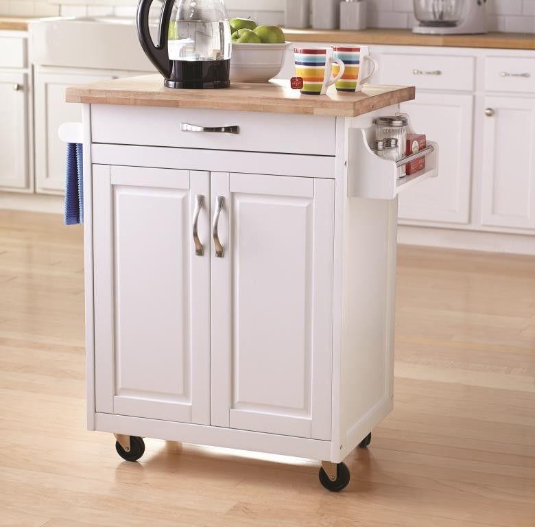 White Kitchen Island With Spice Rack And Towel Holder
