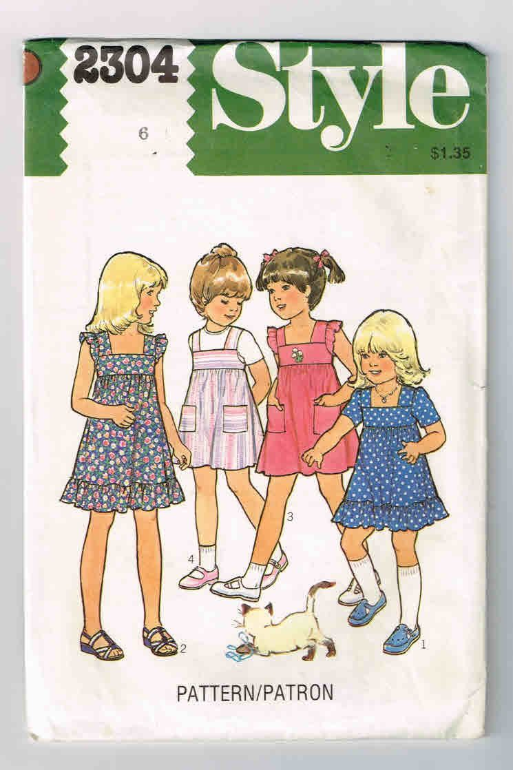 "Vintage 1978, Girl's Sewing Pattern,Style #2304  Girl's Size 6, High Waisted Dress or Overdress, Chest 26"" (64cm), Waist 22"", (56cm) by theShoppingMollies on Etsy"