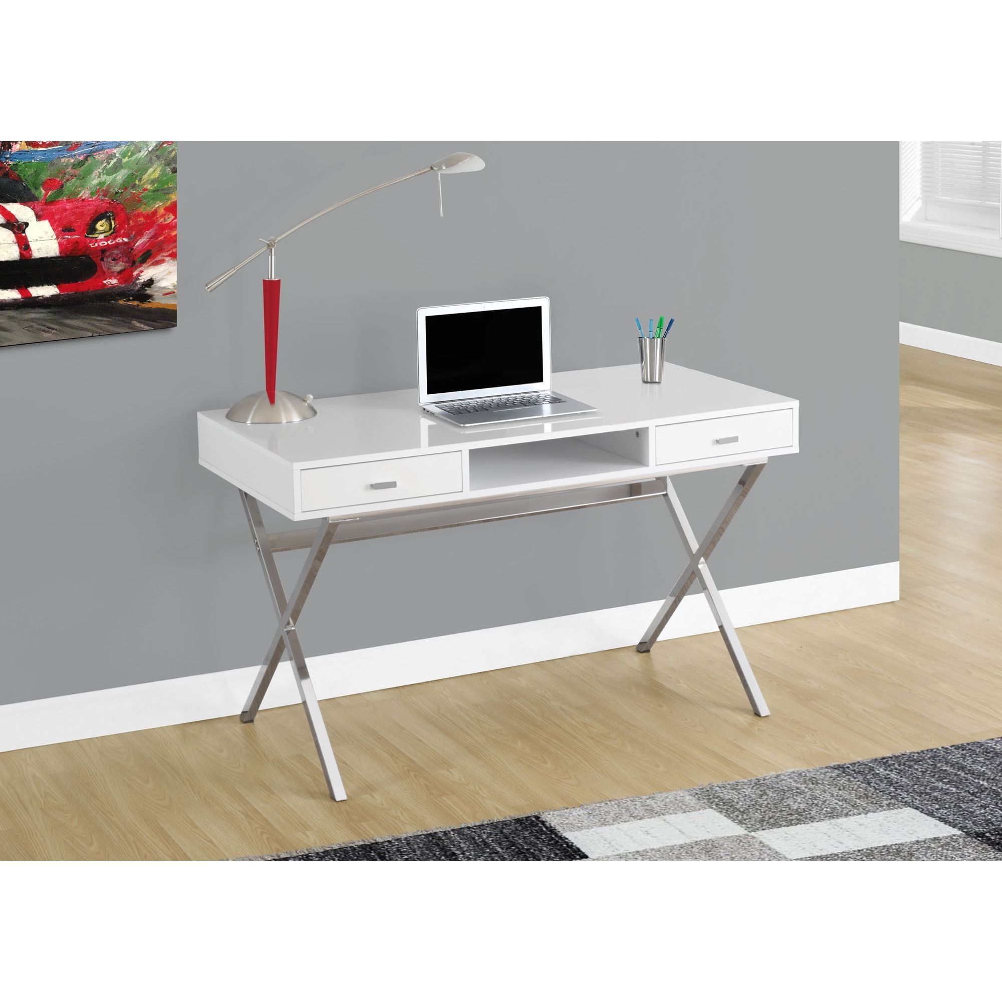 This Modern Computer Desk Is Compact In Size And Is Ideal For