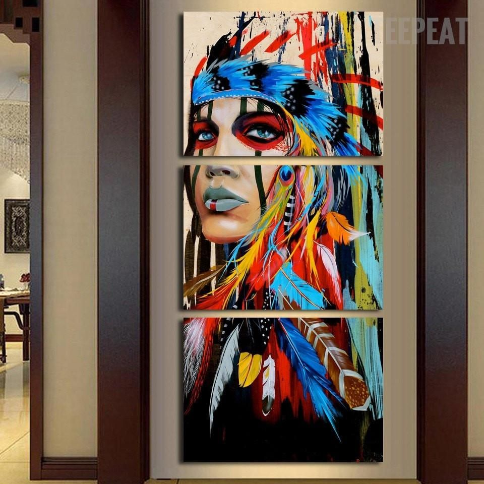 Native Feathered Indian Woman Landscape Canvas Art Figure Painting Wall Pictures