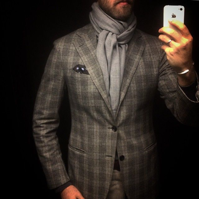 Hopefully the final days of flannel for a while.  #menswear #jacket #lardini #check #cerruti #flannel #grey #scarf #richardjames #wiwt #style #inspiration