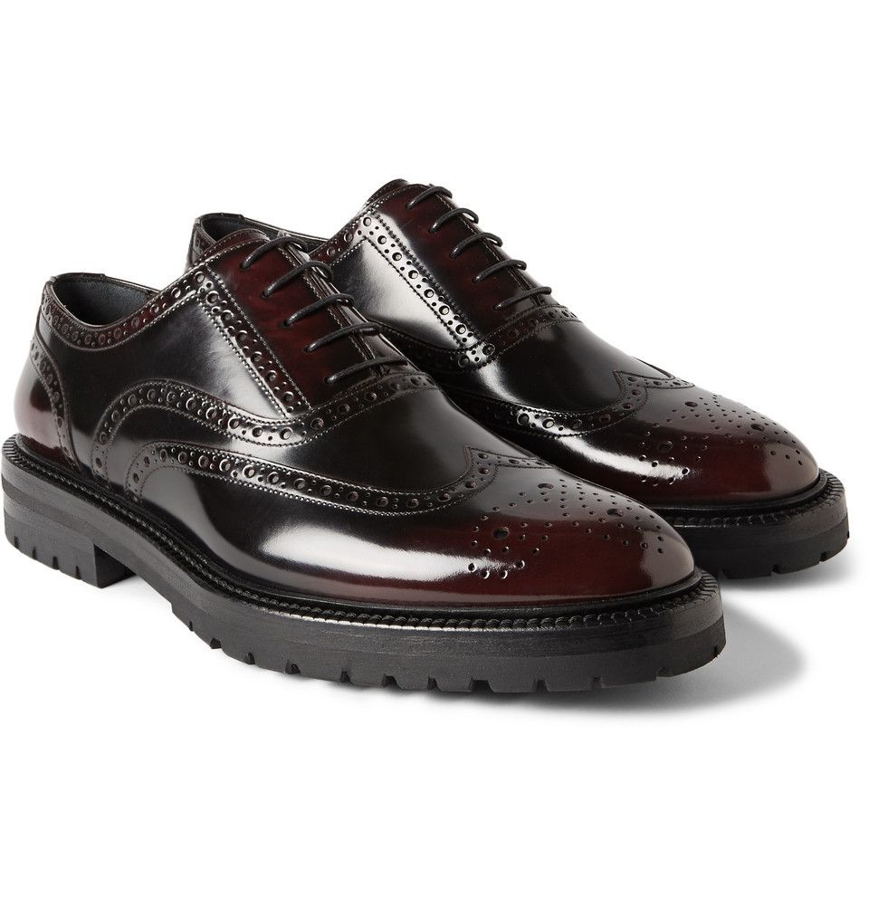 Burberry Prorsum + Burnished Glossed-Leather Brogues