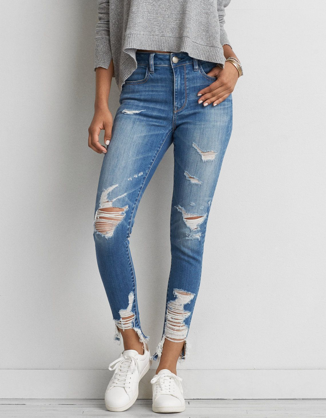 Pin De Linda En Fashion Jeans De Moda Jeans Rasgados Mujer Pantalones De Mezclilla Mujer