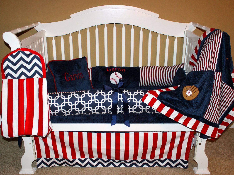 Custom Baseball Nursery Bedding Boys Baby 6 Pc Set By Babiesnbaubles On Etsy Kesley Brooks