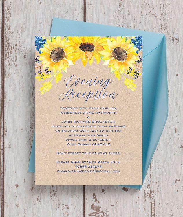 Afternoon Wedding Reception Ideas: Rustic Sunflower Evening Reception Invitation In 2019