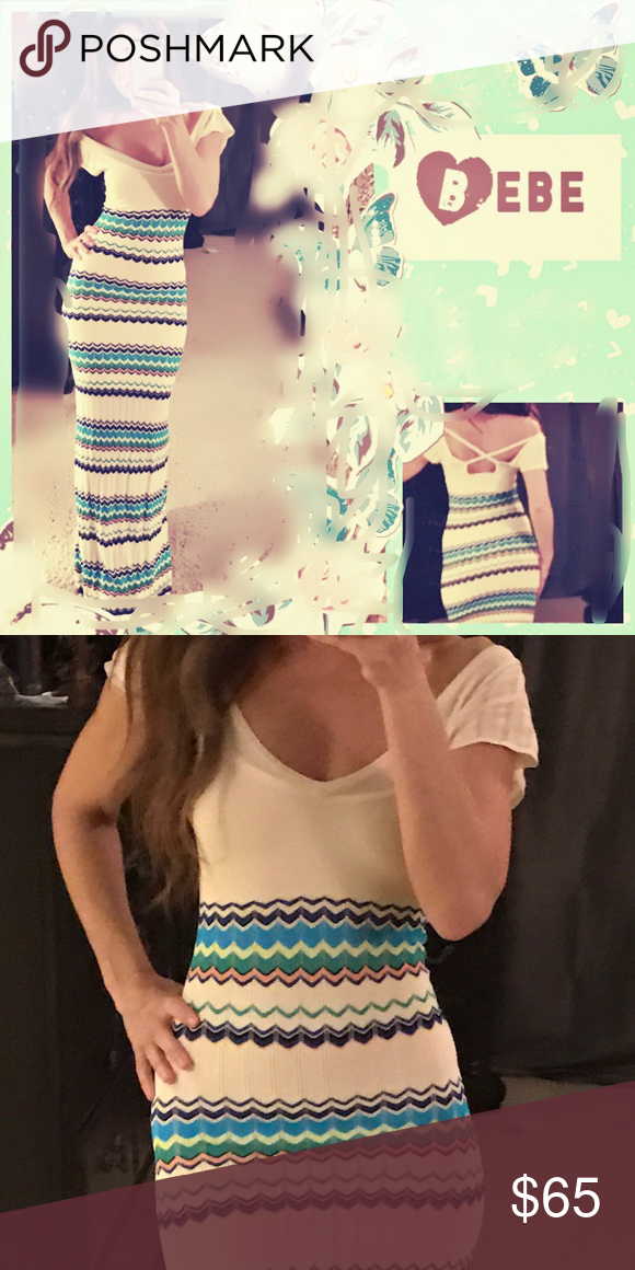 """🌸""""NWOT""""Beautiful Bébé Knit Dress🌸 Gorgeous Bebe dress, perfect for spring.  Never worn, in perfect condition!💝.  Love it!!❤️❤️Not really sure I want to sell yet, but might let it go for a good price😘 bebe Dresses Maxi"""