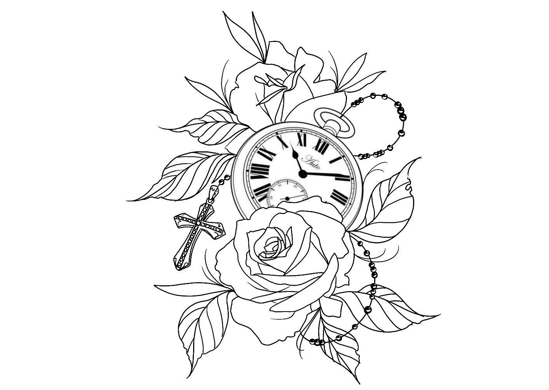 Rosas Relogio Uhr Blumen Tatuagem Rosa Dos Ventos Desenhos