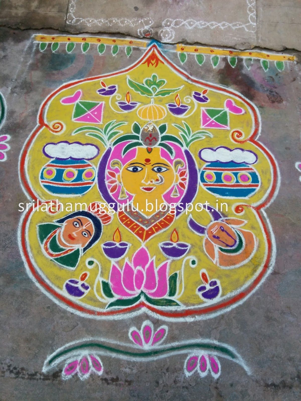 sankranthi rangoli | New Year 2016 Welcome Muggulu ...