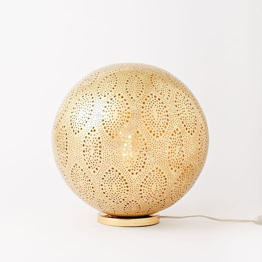 Moroccan Metal Orb Light, Small, Antique Brass