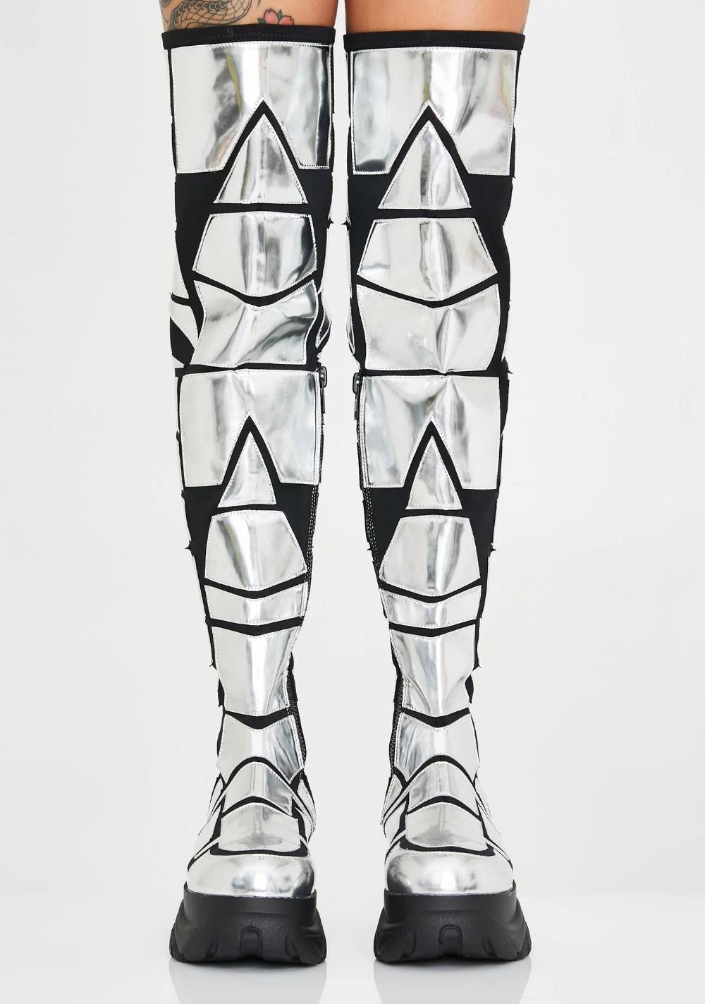 Club Exx Metallic Armor Thigh High Boots Dolls Kill Thigh High Boots Heels