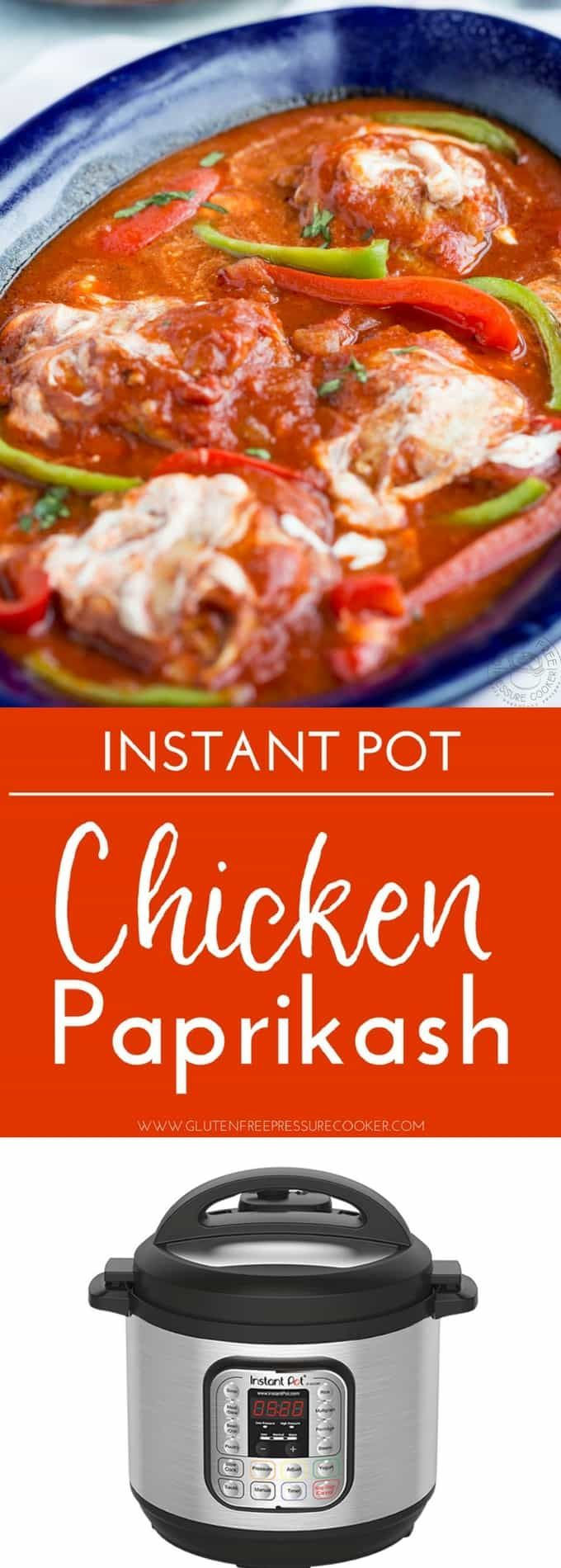 Chicken Paprikash Is A Simple Hungarian Recipe That S Easily Made With Onions Chicken Paprika And Sour Cream This Pressure Co Instant Pot Chicken Paprikash Pressure Cooker Chicken