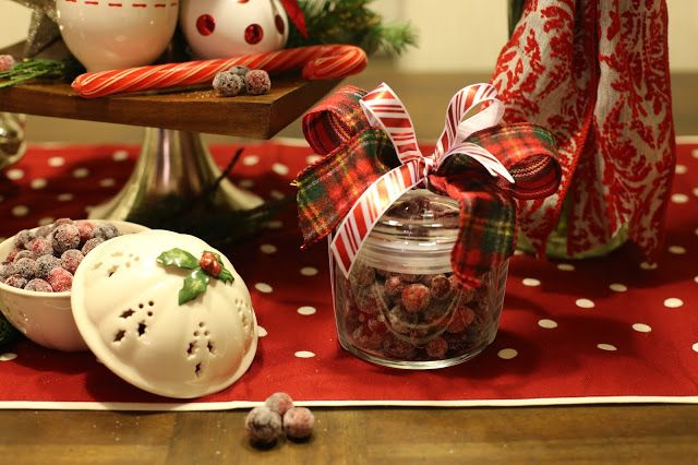 """Decorated Mantel: """"The children were nestled all snug in their beds, While visions of sugar-plums danced in their heads..."""" Yummy Sugared Cranberries"""