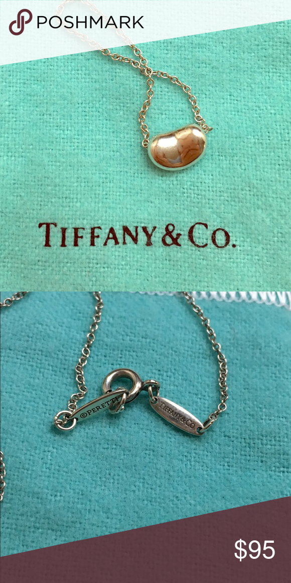 T&Co Mini bean sterling silver necklace Pre loved and not sure if I want to let it go. It is delicate and so easy to wear everyday! A perfect way to add a touch of class to your outfit. It is the mini bean so it is only about  1/3 inches wide. The pendant is attached to a 16 inch chain. Open to offers. 🙂 Tiffany & Co. Jewelry Necklaces