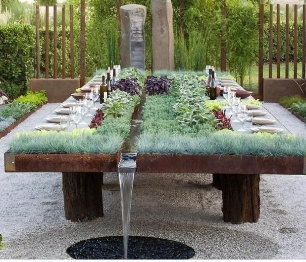 Outdoor Entertaining Table With Herb Garden Built In Water