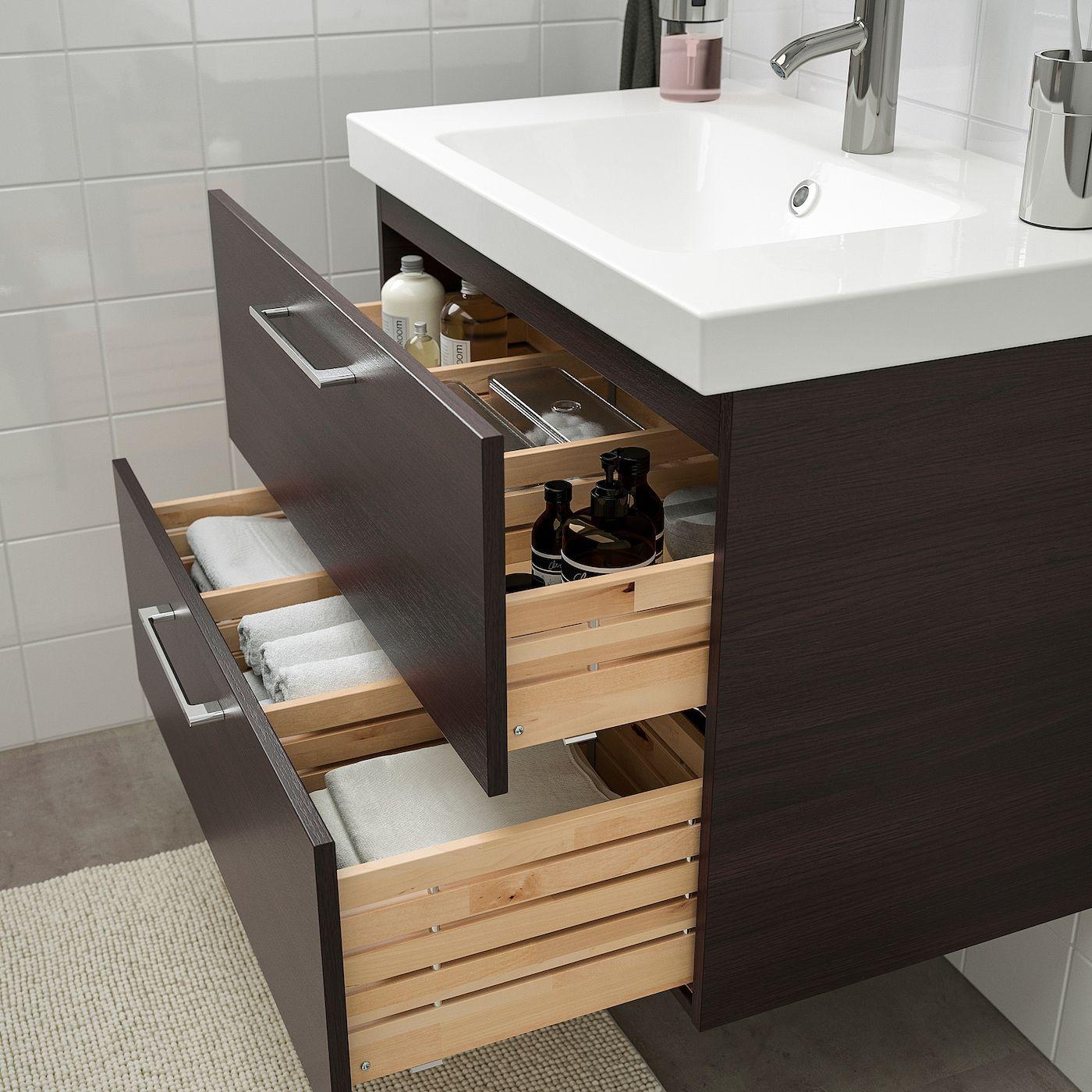 Ikea Godmorgon Odensvik Badeinrichtung 4 Teilig Schwarzbraun Dalskar Mischbatterie In 2020 Ikea Godmorgon Bad Einrichten Badezimmer Schwarz