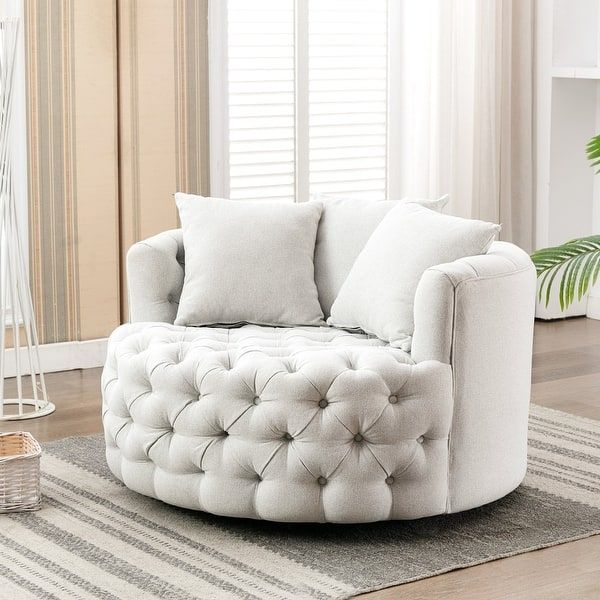 Upholstered Tufted Round Swivel Barrel Chair
