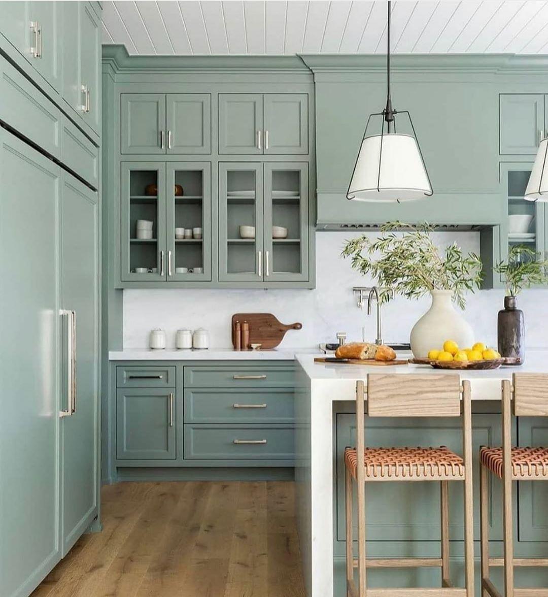 pretty little interior on instagram i m a sucker for this green kitchen jennfeldmandesigns on kitchen interior green id=83356