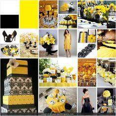 black, white, and yellow wedding