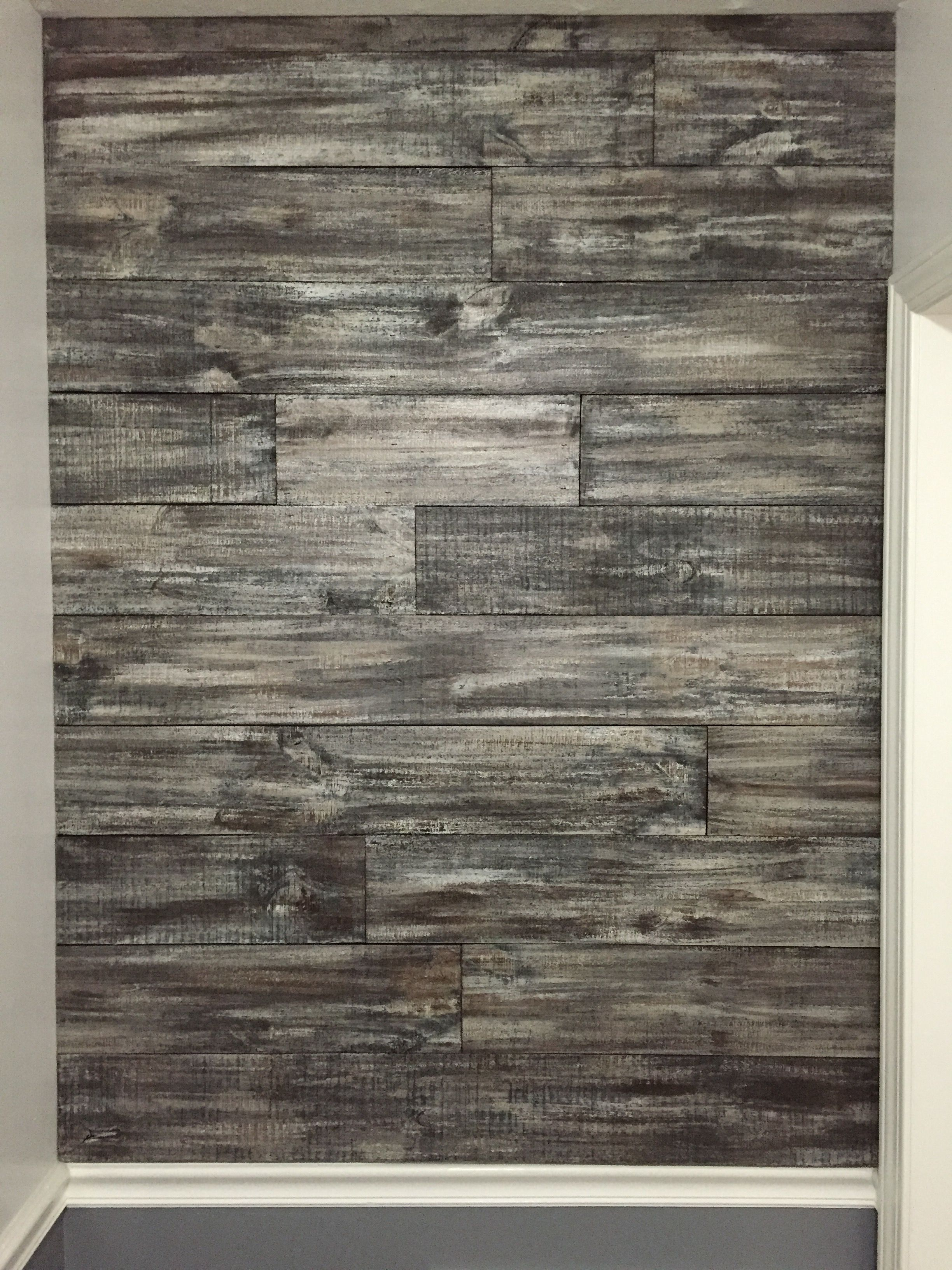 I Made This Wood Accent Wall Using Rough Cut Fencing It Is Much