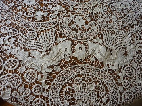 Antique Ornate Reticella Needlework Lace Tablecloth Griffins Geometric Shapes | eBay