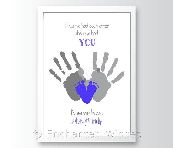 First We Had Quote Handprint Art Print By Enchantedwishesuk