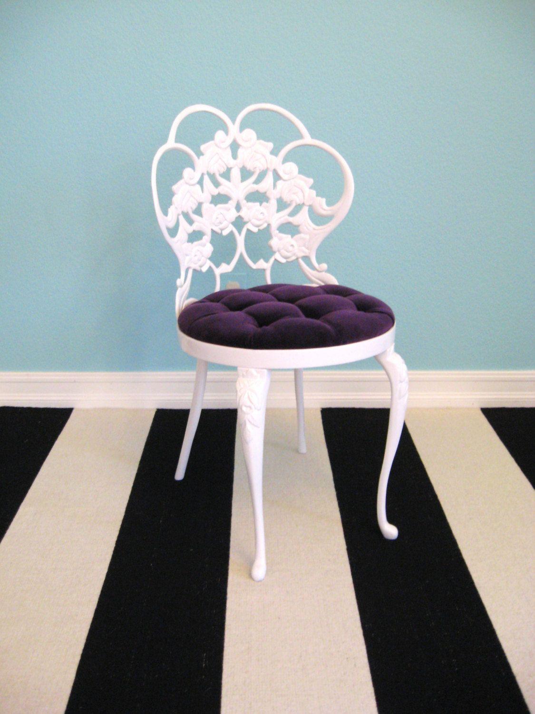 Vintage Metal Vanity Chair Bathroom Stool Painted Boudoir Makeup - Bathroom vanity chair or stool