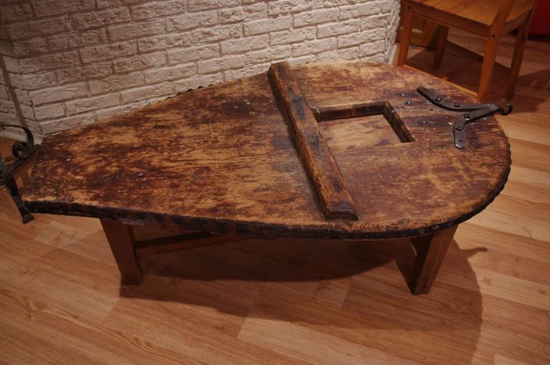 Coffee table made from an old large bellows board on for Kijiji montreal furniture