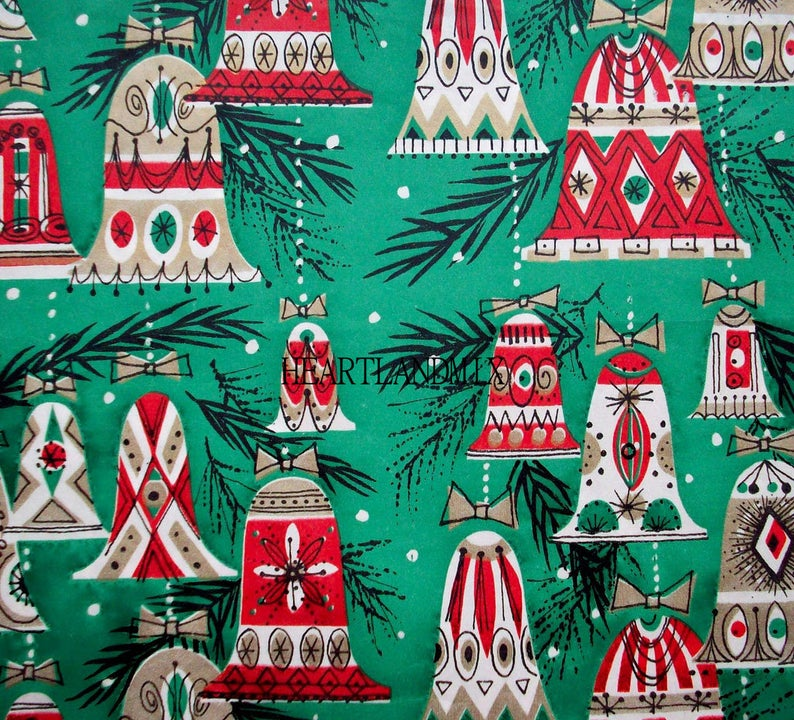 Retro Christmas Bells Wrapping Paper Wallpaper Download Etsy Vintage Christmas Wrapping Paper Christmas Ephemera Vintage Christmas Images