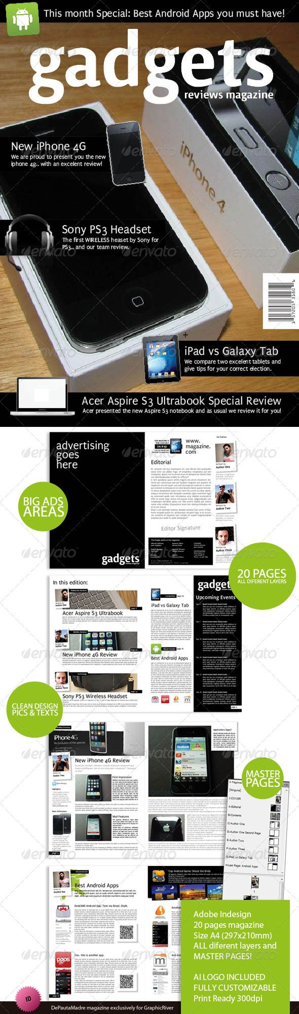 Gadgets Magazine Indesign Template | Photobooks | Pinterest