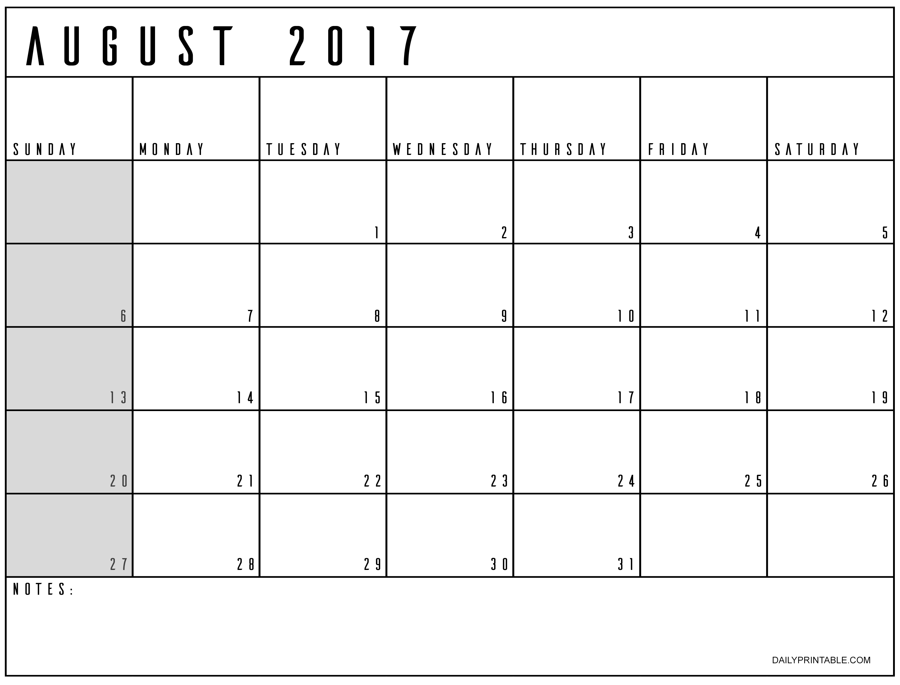 Pin By Dailyprintable On Printable August Calendar