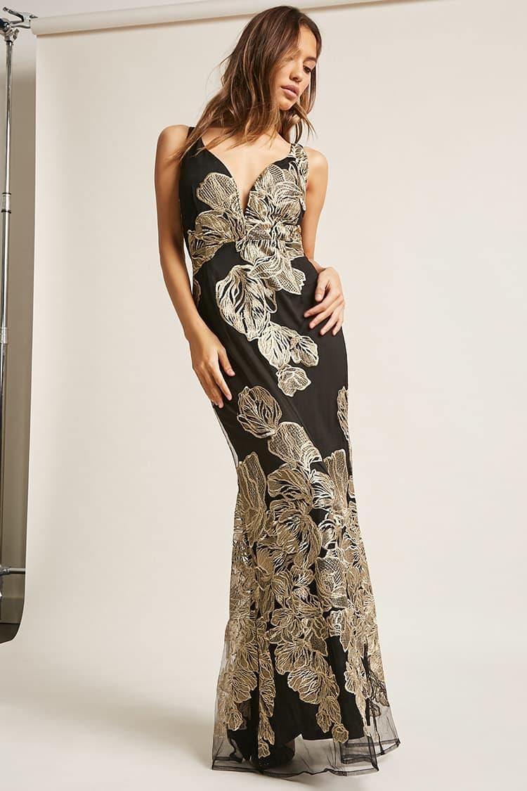 Embroidered mesh maxi dress usd forever new forever