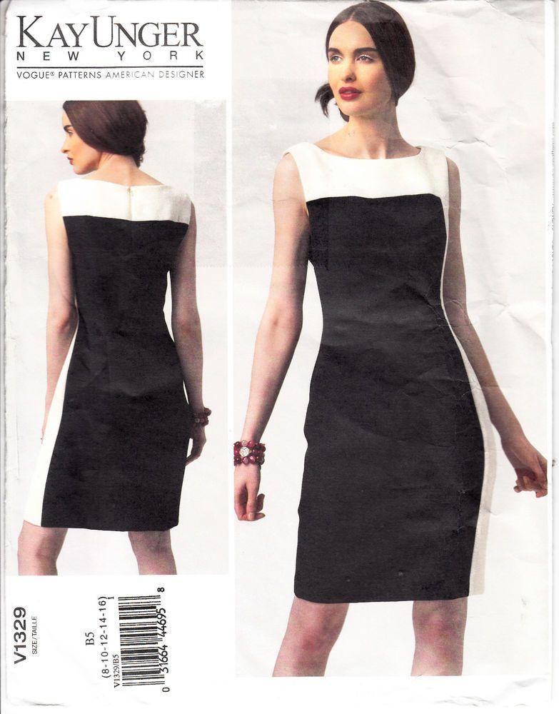 Sheath Dress Close Fit Pleats VOGUE 1329 Unger Sewing Pattern Sz 8-16 Uncut #Vogue1329 #sheathdress