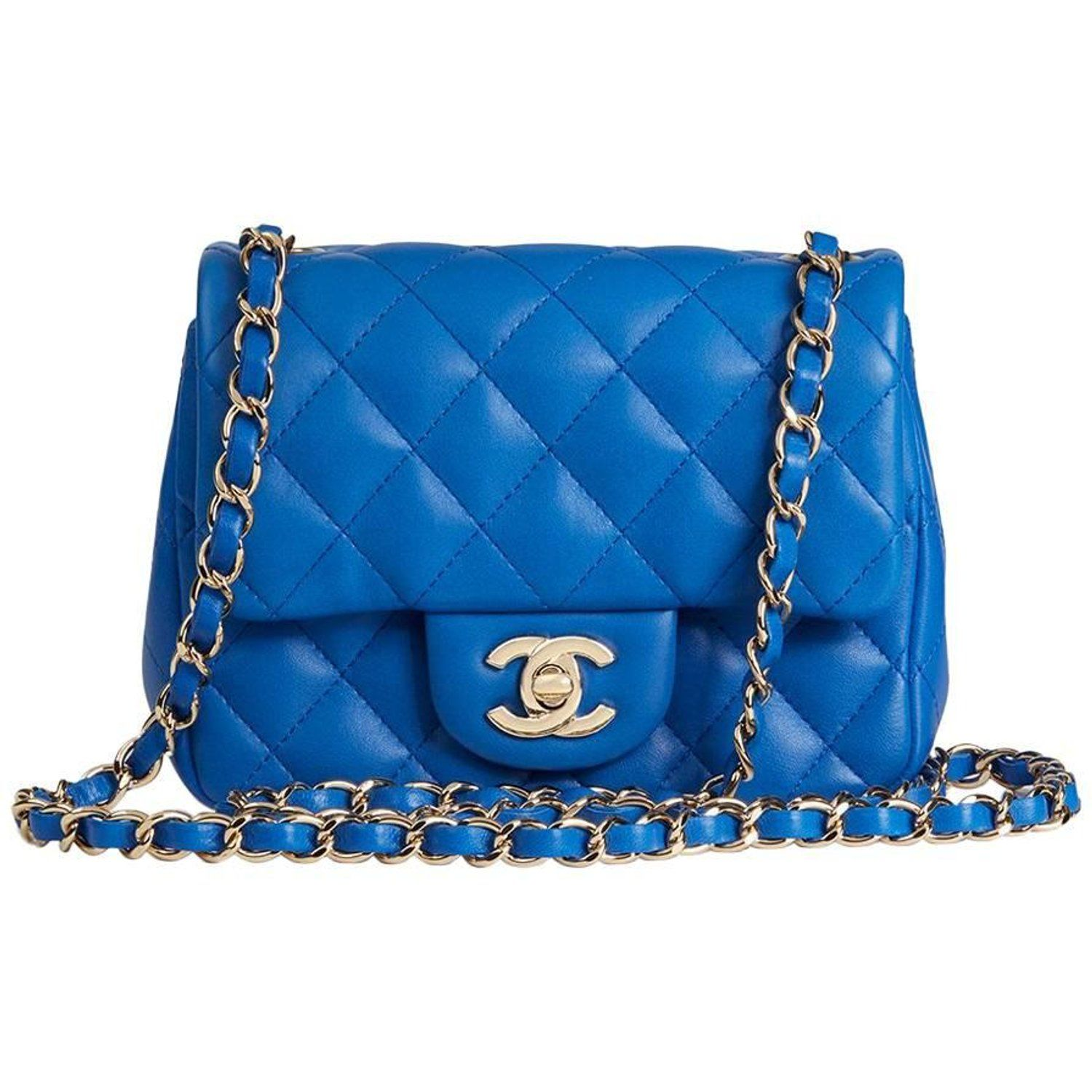 98cffae37bc1 Chanel Blue Quilted Lambskin Mini Flap Bag | Chanel | Bags, Chanel ...
