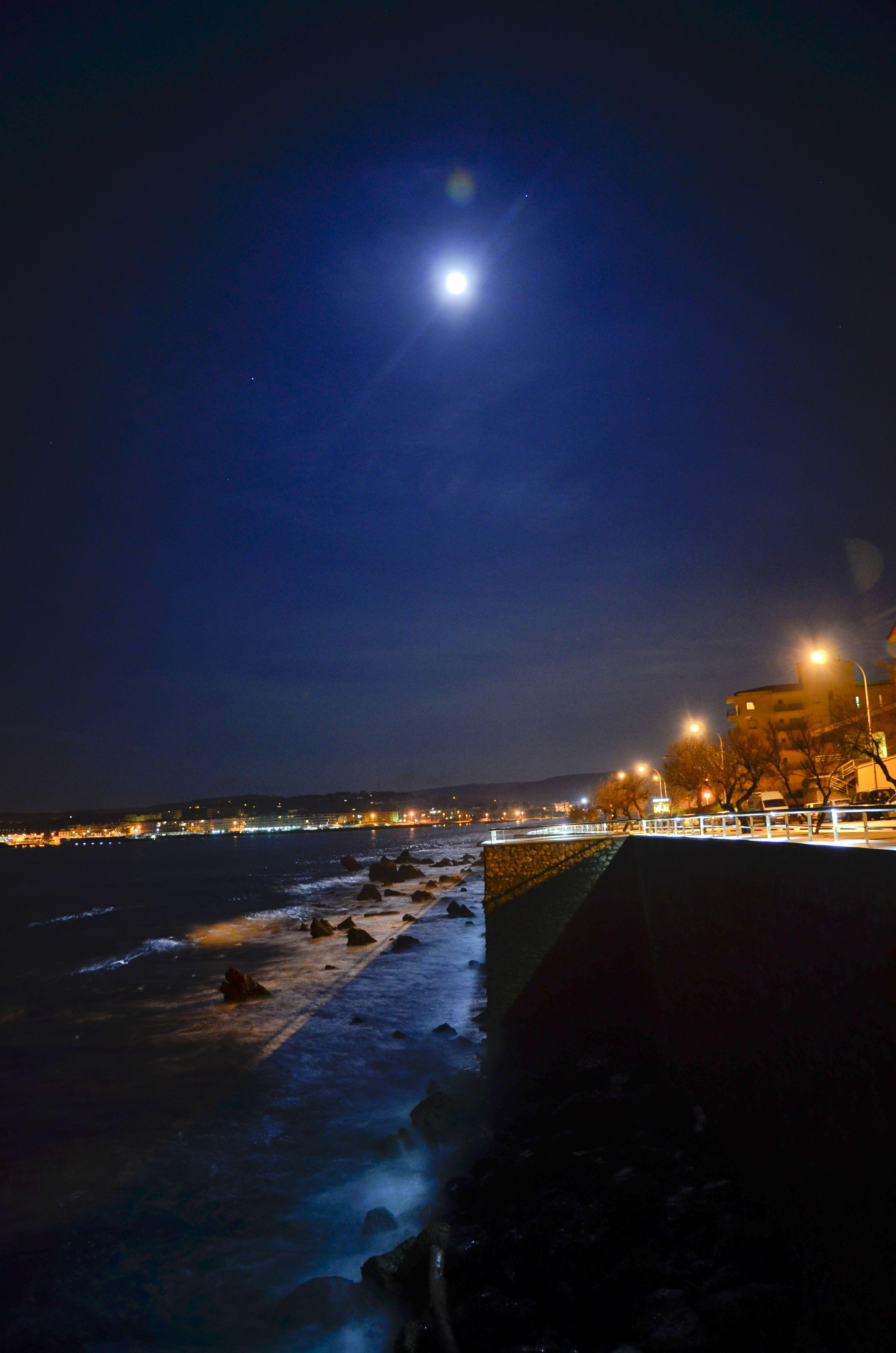 Full Moon Over La Escala Catalonia Spain Med