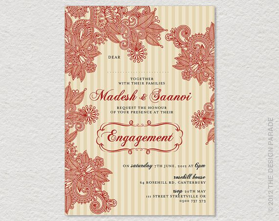 Printable Henna Design Indian Style Invitation For Engagement