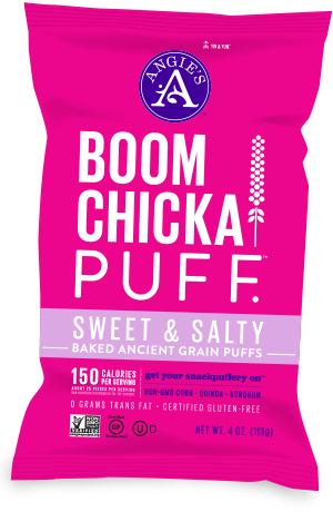 Sweet & Salty BOOMCHICKAPUFF. Our totally fantastical, baked ancient-grain puffs made with non-GMO corn, quinoa and sorghum.