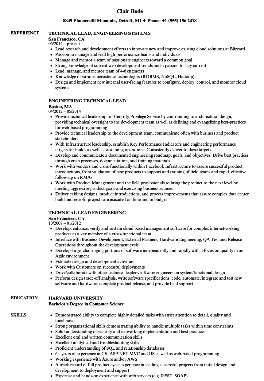 Engineering Technical Lead Resume Samples Project Manager Resume Marketing Resume Customer Service Resume